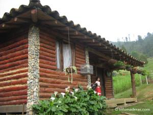 cabaña de troncos de madera