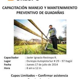 Capacitación: mantenimiento preventivo y manejo de guadañadoras